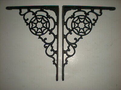 Vtg 1800's Pair of Antique Victorian Cast Iron Fancy Ornate Shelf Brackets