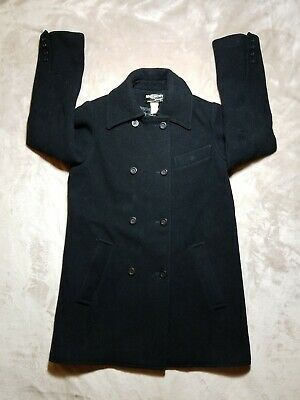 VTG 70s Givenchy Sport Black Double Breasted Wool Peacoat Union Made in USA (SM)