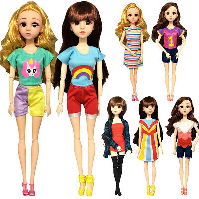 """Colorful Casual Outfit Doll Clothes Skirt T-shirt Pants For 11"""" Girl Doll 8x"""