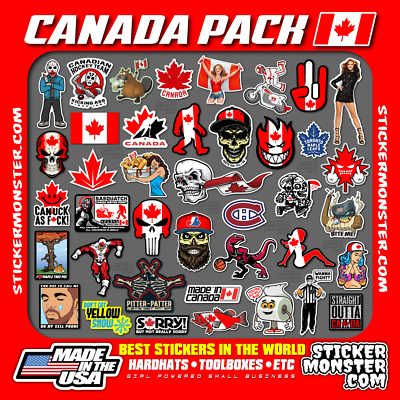 CANADA PACK Hard Hat Stickers (40) HardHat Sticker & Decals, Canadian, Canuck