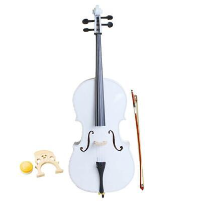 Hot 4/4 Size Basswood White Color Cello +Bag+Bow+Rosin+Bridge