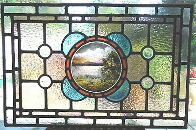 Lovely Hand Painted Antique Restored Stained Glass Panel - Ref Sg397