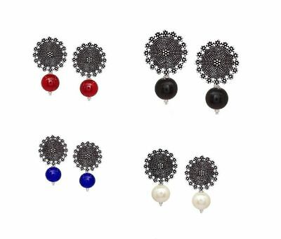 Oxidized Earrings Indian Silver Plated Beads Bollywood Fashion Stud Earrings Set