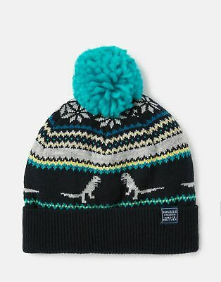 Joules 207187 Dinosaur Fairisle Hat in NAVY STRIPE DINO