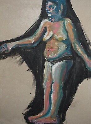 Vintage Large Expressionist Nude Woman Portrait Oil Painting
