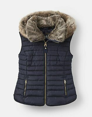 Joules 206935 Padded Gilet With Fur Hood Trim in MARINE NAVY