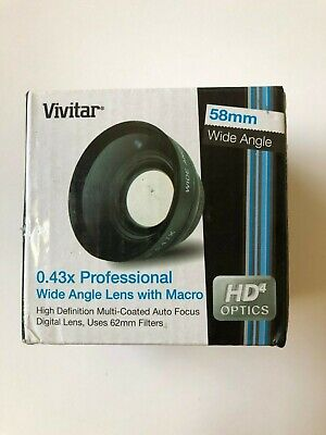 Vivitar 58mm 0.43x Professional Wide Angle Lens with Macro HD4 Optics Digital