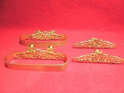 Antique Brass  of 4 Iron Curtain Hardware Decorative Rod Clips Very Fancy