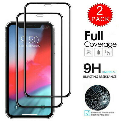 For iPhone 11 Pro Xs Max XR FULL COVER 10D Tempered Glass Screen Protector 2Pcs