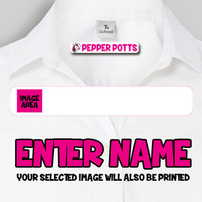 10 IRON ON Personalised Name Clothes School Labels Stickers Tags Kids Uniform