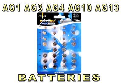 30 Assorted Watch Batteries AG1 AG3 AG4 AG10 AG12 AG13 Button Coin Cell Battery