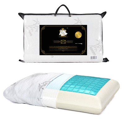 Gel Memory Foam Pillow Cool with Zipped Washable Breathable Bamboo Duck & Goose