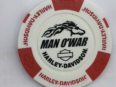 Harley Poker Chip  MAN O WAR HD   LEXINGTON, KY    WHITE /RED