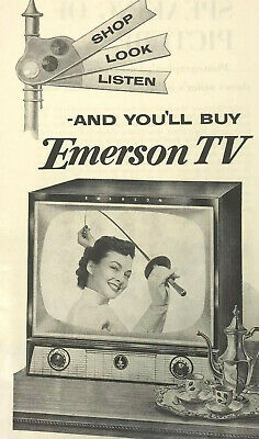 Emerson TV Television Magazine Print Ad Vintage 1954 Household Electronics Home