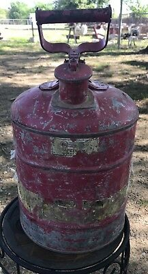 Vintage Red Metal Gas Oil Kerosene Can 3 Gallon