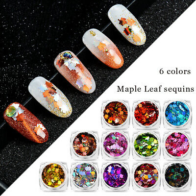 Holographic Nail Art Glitter Sequins Autumn Maple Flakes 1g For Gel Polish Tips