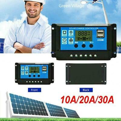 12V/24V Solar Charge Controller 10A/20A/30A HD Dual USB Output Charger Regulator