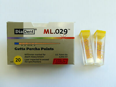 DiaDent Milimeter Marked Lasered ML.029 Gutta Percha Points Color Coded Size #20
