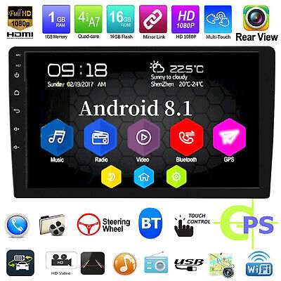 "10.1"" HD Android 8.1 Car Stereo GPS Navi MP5 Player 2Din WiFi Quad Core FM Radio"