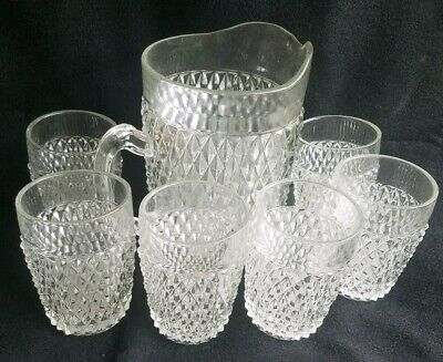 6 Vintage Heavy Crystal Diamond Pattern Glass Drinking Tumblers with Pitcher