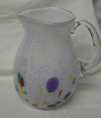 "Artist signed B. McKinney Dichroic Art Glass ""End of the Day"" hand blown pitcher"