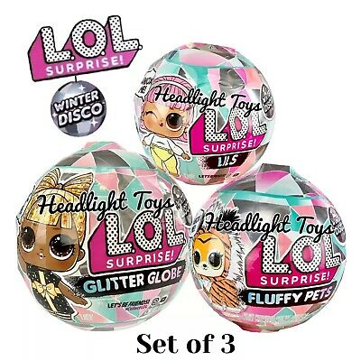 3 LOL Surprise Winter Disco Balls Glitter Globe Doll Fluffy Pets LILS In Hand