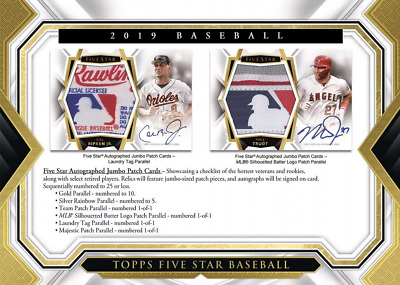 2019 Topps Five Star Baseball Live Pick Your Player (Pyp) 1 Box Break #1