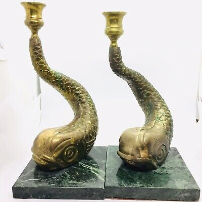 Vintage Brass Marble Dolphin Fish Candlesticks Koi Candle Holders Set of 2