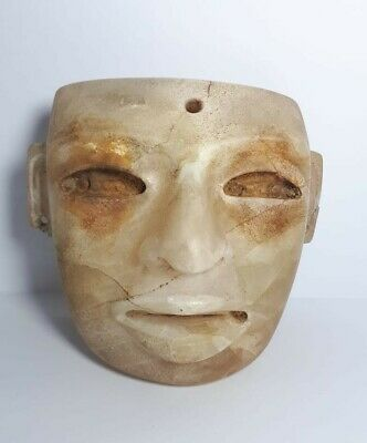 Pre-Columbian Teotihuacan Alabaster mask from Mexico. Ca. 700 ad.