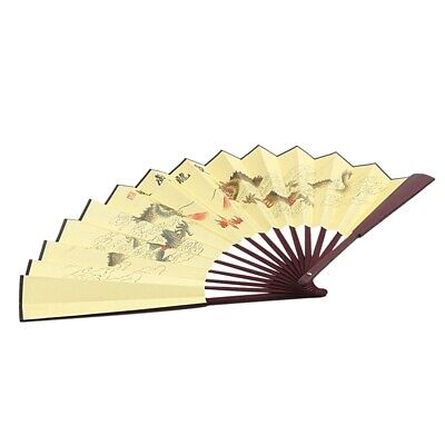 1X(Dragon Poem Oriental Painting Rosewood Bamboo Ribs Folding Hand Fan W1N1) T9