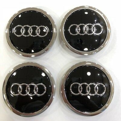 4X AUDI BLACK & CHROME 68mm ALLOY WHEEL CENTRE CAPS  A3 A4 A5 A6 TT RS4 Q5 Q7