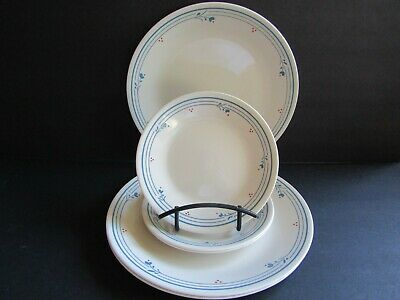 Corelle~COUNTRY VIOLETS~3 DINNER & 3 B & B PLATES~Blue Flowers/Stripes~Red Dots