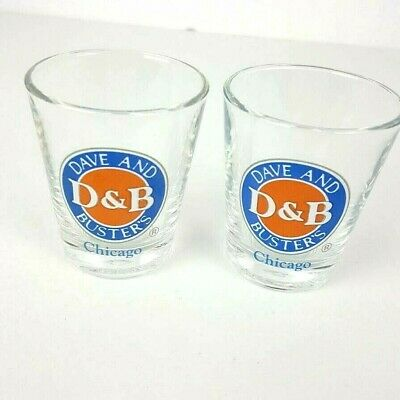 Dave and Busters Chicago Souvenir Shot Glasses Lot of Two Souvenir