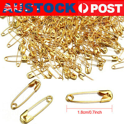 500PC Small Tiny Safety Pins Gold Color 18mm Brass Metal Sewing Craft Mini Pins