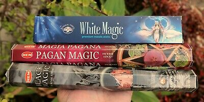 ITS ALL MAGIC Pack of 3 INCENSE STICKS~Hem Green Tree Wicca Smudge Pagan Spell