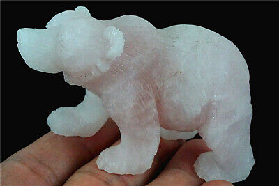 D0412 35x17x23mm Natural Amethyst Hand Carved Bear Figurine