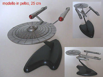 FRANKLIN MINT STAR TREK ENTERPRISE NCC-1701 PEWTER (PELTRO) and STAND - LIKE NEW