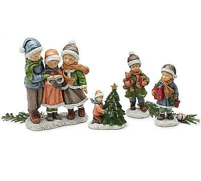 Set of 4 Christmas Carolers with Christmas Tree Figurines 6.75 Inches
