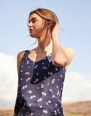 Joules Womens Kyra Print V Neck Camisole Top in NAVY FLORAL BUD