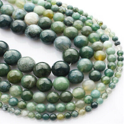 Natural Moss Agate Loose Beads Making Jewelry 15 inches Shining Gemstone Diy