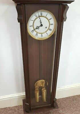 Twin weighted reproduction Vienna Regulator wall clock 120cm tall with top decor