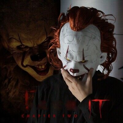 Joker Pennywise Mask Stephen King It Chapter Two 2 Cosplay Latex Scary Prop NEW