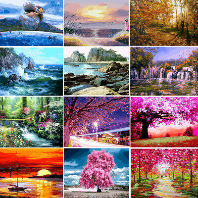 Scenery DIY Paint By Number Kit Acrylic Oil Painting Canvas Art Home Wall Decor