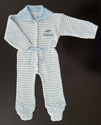 VINTAGE 1960 / 70's BABY BOYS' BLUE / WHITE KNITTED PRAM SUIT SIZE 0