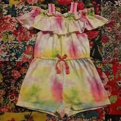 River Island 9-12 Girls Bright Summer Playsuit Frill Neck Holiday