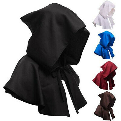Unisex Cosplay Death Cape Short Hood Cloak Wizard Witch Medieval Cape Halloween