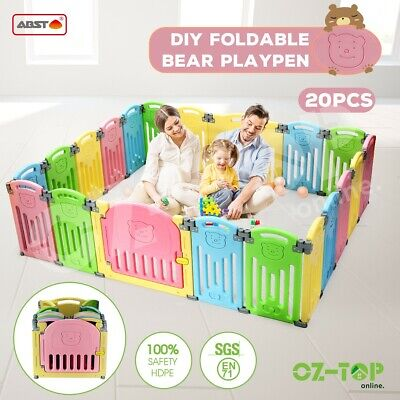 ABST 20 Panel Kids Baby Playpen Interactive Baby Room Safety Gates Bear Foldable