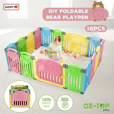 ABST 16 Panel Kids Baby Playpen Interactive Baby Room Safety Gates Bear Foldable