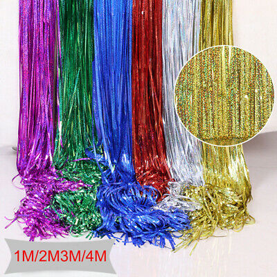 1M-2M Foil Fringe Tinsel Shimmer Curtain Door Wedding Birthday Party Baby Shower