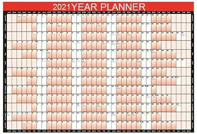 3 X 2020 A1 Laminated Yearly Wall Planner Calendar with Wipe Dry Pen /& Sticker